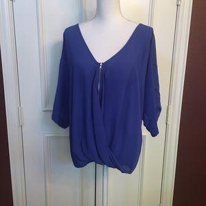 Venus Royal Blue V- neck Blouse Size M